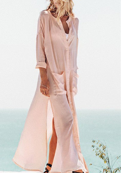 Pink Single Breasted Pockets Side Slit Round Neck Long Sleeve Maxi Dress