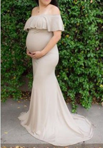 Apricot Ruffle Draped Off Shoulder Mermaid Maternity For Babyshower Elegant Party Maxi Dress