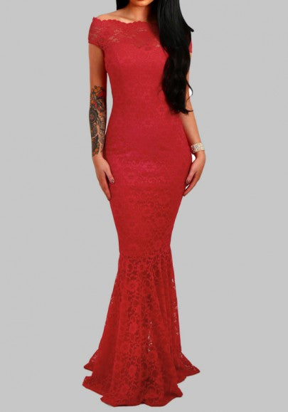 Red Off Shoulder Lace Mermaid Bodycon Elegant Party Banquet For Wedding Maxi Dress