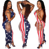 Multicolor Striped American Flag Print Hollow-out Backless Round Neck Bodycon Maxi Dress