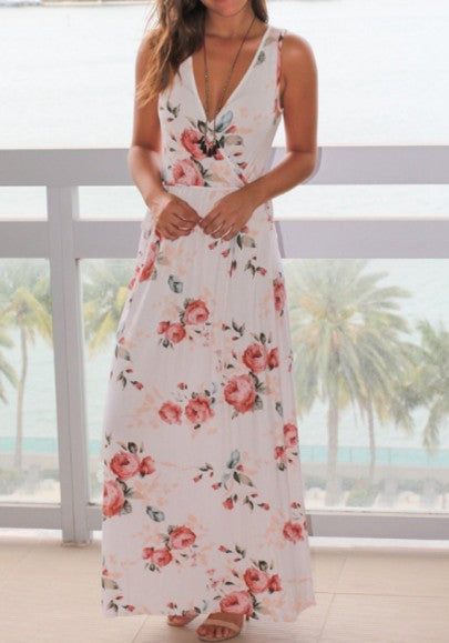 White Flowers Deep V-neck Sleeveless Spandex Maxi Dress
