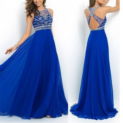Blue Patchwork A-Line Halter Beading Draped Brillante Cross Back Party Maxi Dress