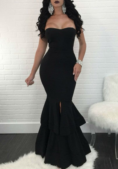 Black Bandeau Slit Cascading Ruffle Backless Mermaid Prom Evening Party Maxi Dress