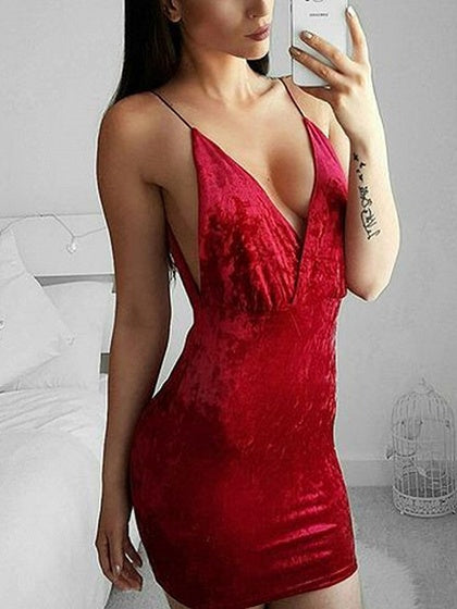 Red Velvet Plunge Spaghetti Strap Bodycon Mini Dress
