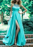 Blue Patchwork Lace Sleeveless Side Slit Homecoming Maschard Ball Gown Maxi Dress