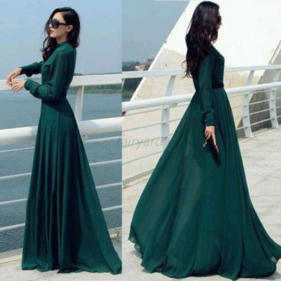 Green Plain Buttons Band Collar Floor Length Vintage Islamic Muslim Abaya Maxi Dress