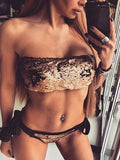 Gold Sequin Embellished Bandeau Bikini Top and Tie Brief Bottom
