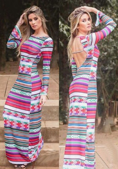 Rose Carmine Patchwork Pattern Round Neck Bohemian Cotton Maxi Dress