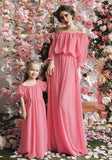 Pink Draped Off Shoulder Ruched Bridesmaid High Waisted Sweet Elegant Party Maxi Dress