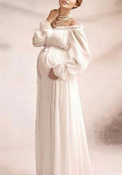 White Ruffle Draped Boat Neck Off Shoulder Maternity Flare Sleeve Elegant Maxi Dress