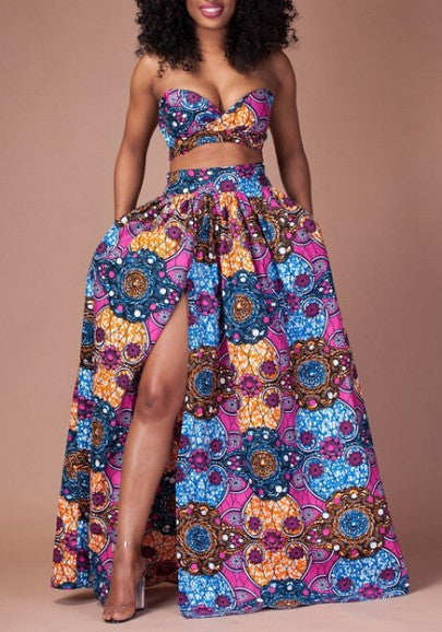 Blue Tribal Print Backless Side Slit Off Shoulder Two Piece Bohemian Maxi Dress