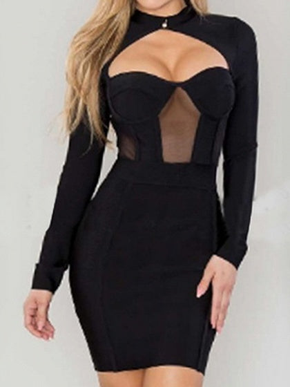 Black Cut Out Detail Long Sleeve Bodycon Mini Dress
