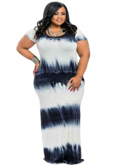 Black-White Patchwork Tie Dye Draped Floor Length Plus Size Maxi Dress