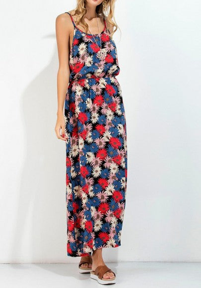 Multicolor Flowers Print Cut Out Draped Spaghetti Straps Backless Bohemian Maxi Dress
