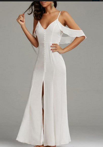 White Cut Out Draped Slit Backless Spaghetti Strap Party Maxi Dress