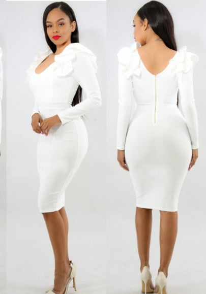 White Ruffle Backless Elegant Banquet Bodycon Party Church Midi Dress