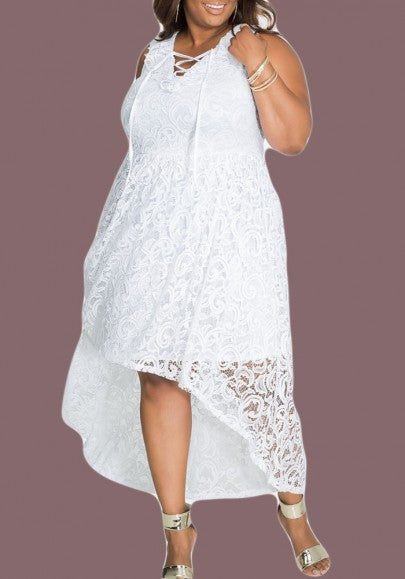 White Lace Drawstring Irregular Lace-Up High-Low Pluse Size Party Maxi Dress