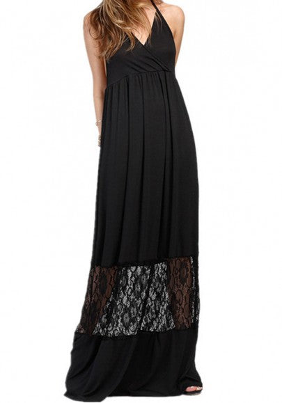Black Lace Draped Lace-up Backless V-neck Elegant Party Maxi Dress