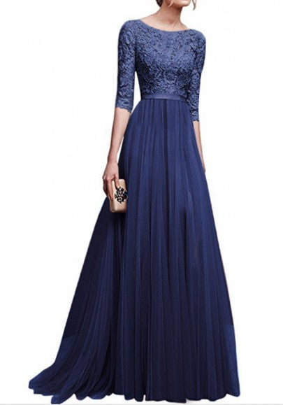 Navy Blue Patchwork Lace Draped Slit Banquet Bridesmaid Elegant Elbow Sleeve Maxi Dress