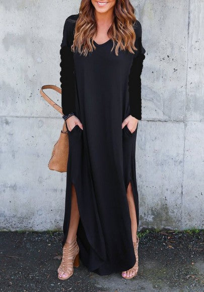 Black Draped Double Slit Round Neck Long Sleeve Casual Maxi Dress