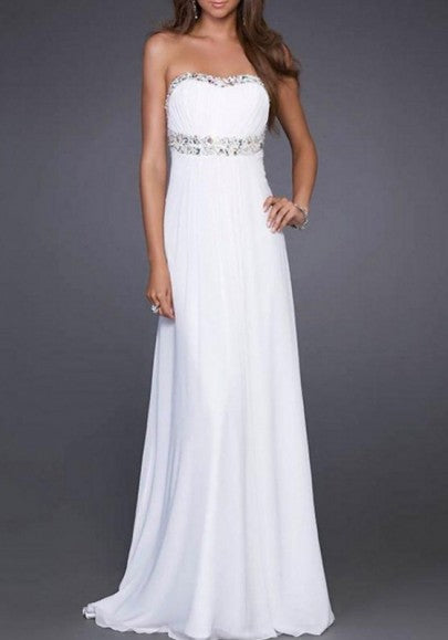 White Cut Out Sequin Bandeau Draped Backless Prom Evening Party Maxi Dress