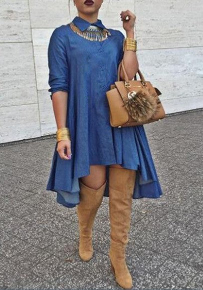 Blue Plain Single Breasted Irregular Swallowtail Pleated Plus Size Turndown Collar Long Sleeve Denim Club Fashion Midi Dress