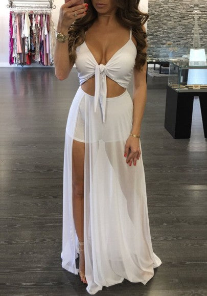 White Cut Out Grenadine Backless Lace-Up Side Slit Las Vegas Maxi Dress