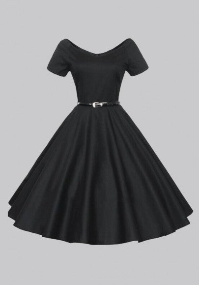 Black Belt V-neck Short Sleeve Vintage Tutu Party Maxi Dress