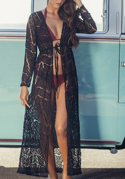 Black Patchwork Lace Bikini Cover Up Long Sleeve Beach Casual Maxi Dress
