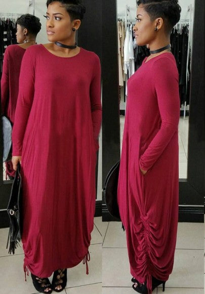 Red Loose Irregular Oversize Casual Home Maxi Dress