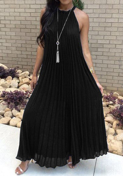 Black Pleated Tie Back Sleeveless Halter Neck A-line Bohemian Maxi Dress