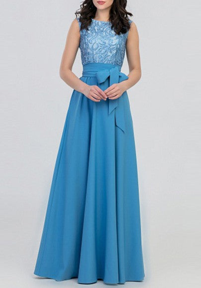 Light Blue Patchwork Draped Belt Sleeveless Elegant Prom Evening Party Maxi Dress