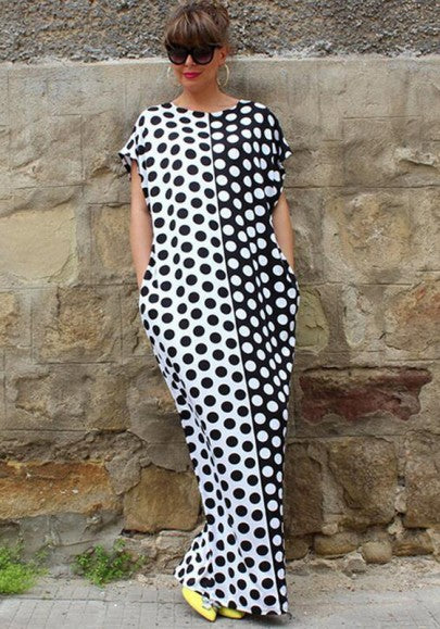 Black-White Polka Dot Print Round Neck Short Sleeve Loose Fashion Maxi Dress
