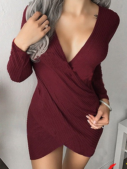 Burgundy V-neck Wrap Asymmetric Hem Bodycon Mini Dress