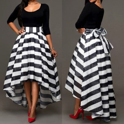 Black Striped Irregular Bow Swallowtail Scoop Neck Elegant Dacron Formal Prom Ball A-line Maxi Dress