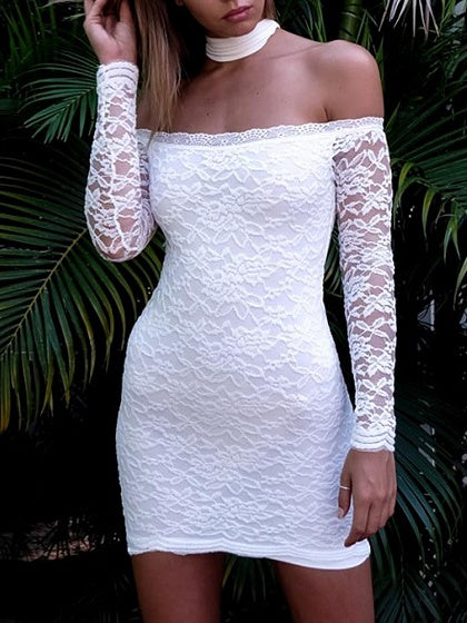 White Choker Neck Off Shoulder Bodycon Lace Mini Dress