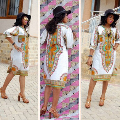 White Tribal African Print Band Collar V-neck Elbow Sleeve Knee Length Boho Aztec Midi Dress