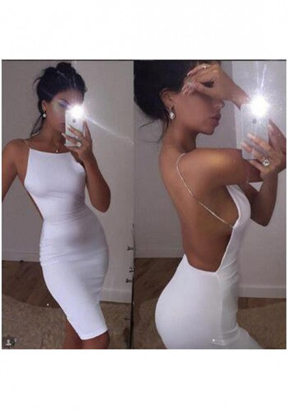 White Square Neck Spaghetti Strap Backless Off-Shoulder Bodycon Midi Dress