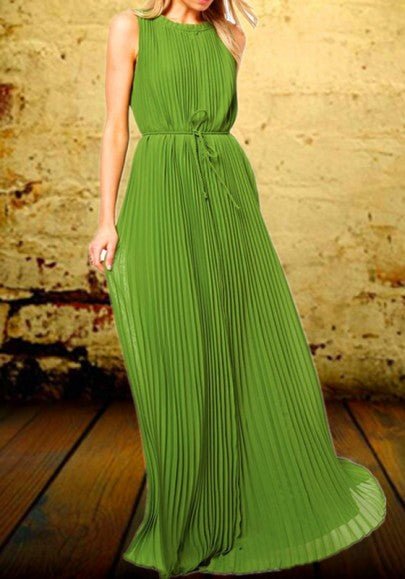 Green Draped Pleated Sashes Round Neck Sleeveless Maxi Dress