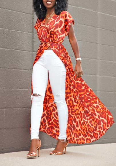 Red Leopard Print V-neck Short Sleeve High-Slit Bohemian Chiffon Maxi Dress