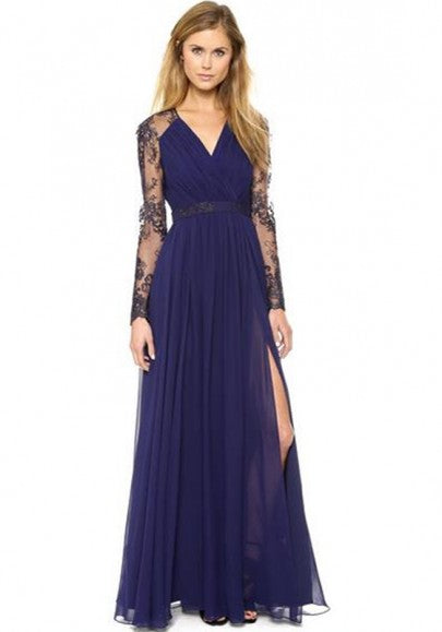 Dark Blue Patchwork Lace Hollow-out V-neck Maxi Dress
