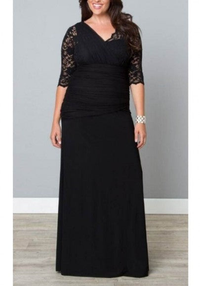 Black Lace Draped Asymmetric Shoulder Bandage Plus Size Banquet Elegant Maxi Dress