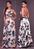 White Flowers Print Backless Tie Back Cross Back Side Slit Maxi Dress