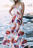White Floral Spaghetti Straps Draped Plunging Neckline Sleeveless Maxi Dress
