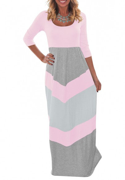 Pink Geometric Print Round Neck Long Sleeve Casual Maxi Dress