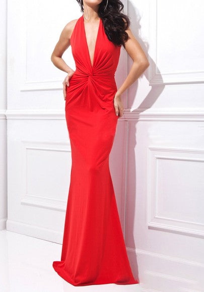 Red Plain Zipper Plunging Neckline Fashion Maxi Dress
