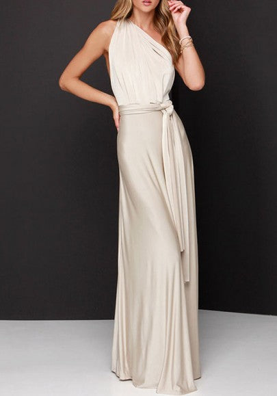 Beige Plain Asymmetric Shoulder Draped Belt Sleeveless Maxi Dress