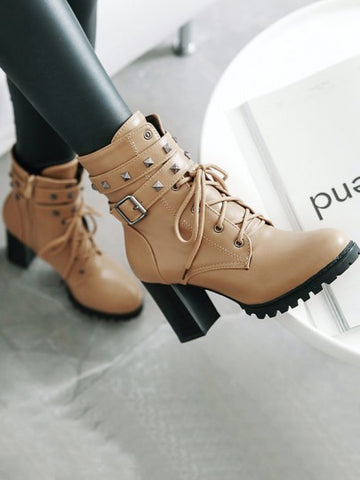 Beige Round Toe Rivet Belt Buckle Zipper Lace-up Chunky Fashion Boots