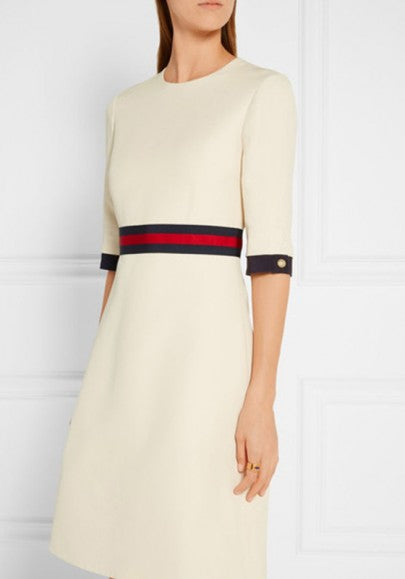 White Striped Buttons Zipper Half Sleeve Round Neck Elegant Midi Dress