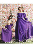 Purple Draped Off Shoulder Ruched Bridesmaid High Waisted Sweet Elegant Party Maxi Dress